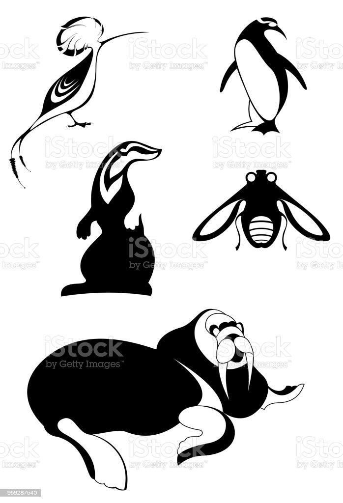 Animal icons isolated illustration vector art illustration