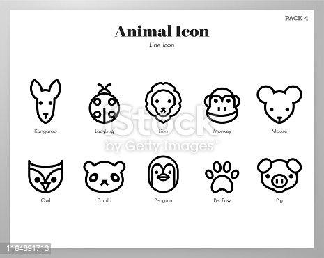 Animal vector illustration in line stroke design