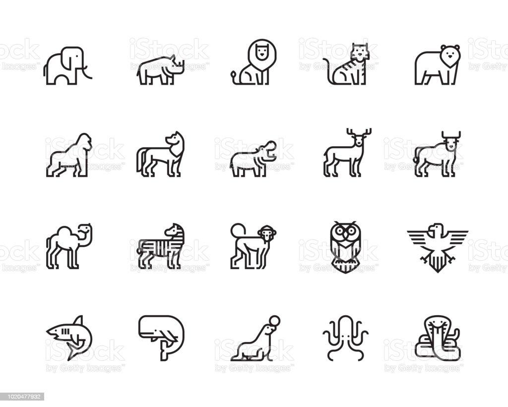 Iconos de animales - arte vectorial de Animal libre de derechos