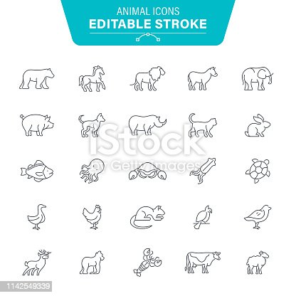 Polar Bear, Monkey, Gorilla, Animal, Seafood, Editable Stroke Icon Set