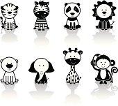 Cute set of black and white wild / zoo animal icons. Includes tiger, zebra, pandas, lion, polar bear, elephant, giraffe and monkey.