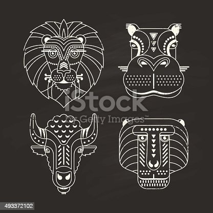 Animal portraits made in unique geometrical flat style. Vector heads of lion, hippo, bison, monkey on a chalkboard. Isolated icons for your design.