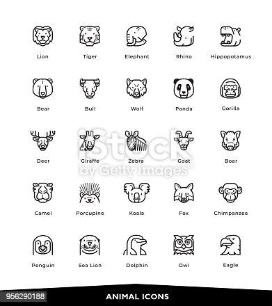 Animals, Wildlife, Sea Animals, Zoo, Animal Faces, Icons, Vector, Illustration