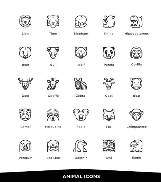 animal icons - black and white owl stock illustrations, clip art, cartoons, & icons