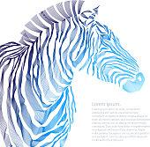Animal illustration of vector zebra silhouette. EPS Vector