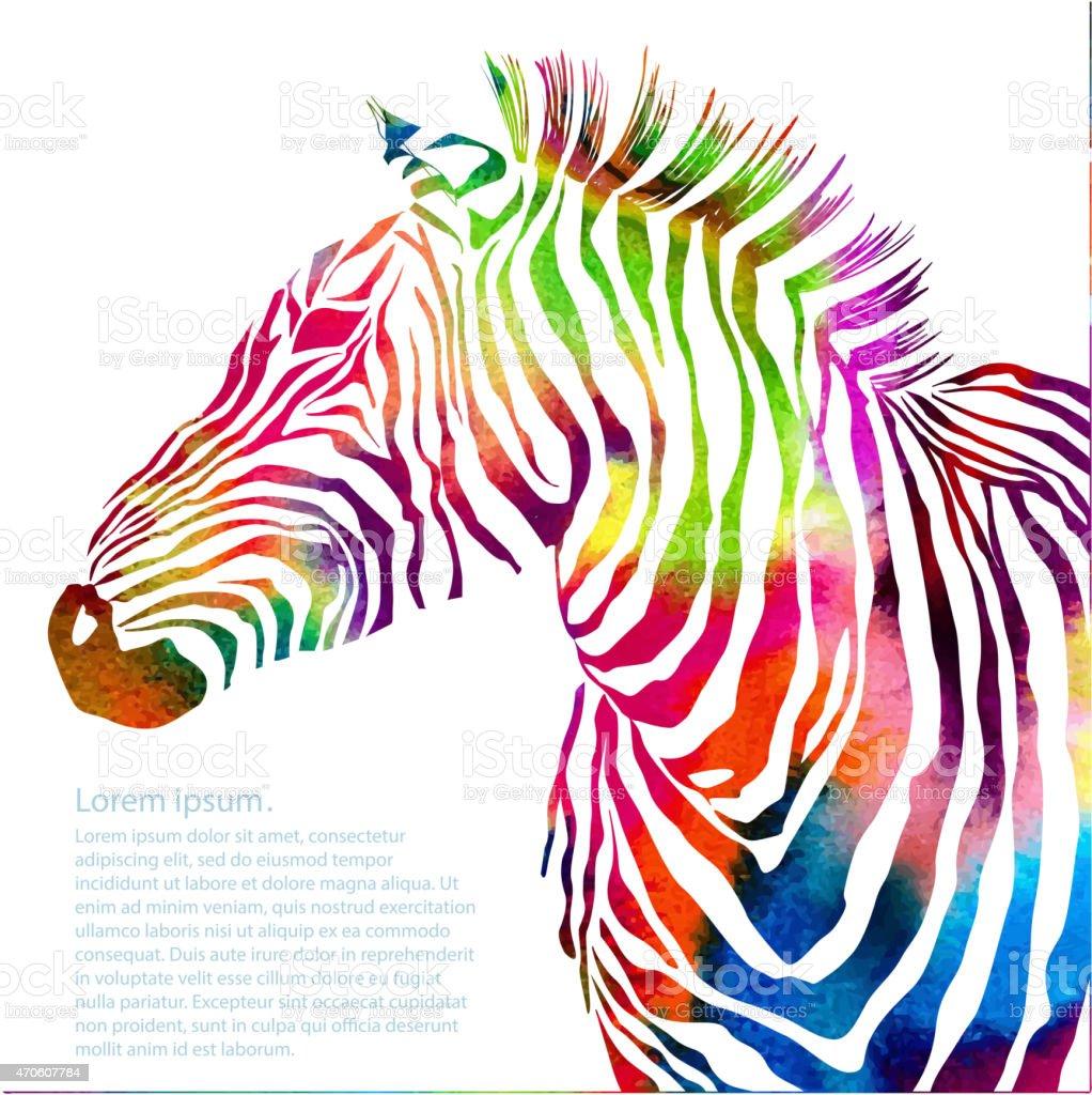 Animal illustration of watercolor zebra silhouette vector art illustration