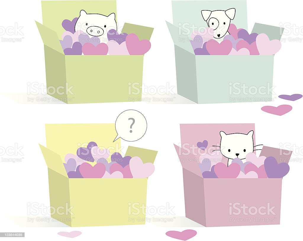 Animal in boxes royalty-free stock vector art