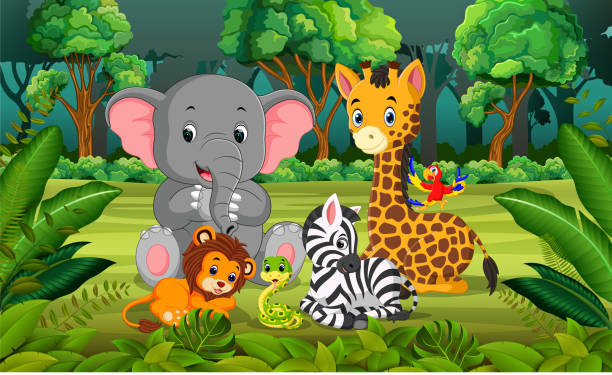 tier im wald - giraffenhumor stock-grafiken, -clipart, -cartoons und -symbole