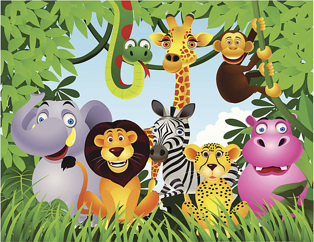 stockillustraties, clipart, cartoons en iconen met animal in the jungle - kat