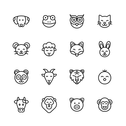 Animal Line Icons. Editable Stroke. Pixel Perfect. For Mobile and Web. Contains such icons as Dog, Frog, Owl, Bird, Cat, Kitten, Mouse, Sheep, Fox, Bunny, Panda, Goat, Lion, Tiger, Chick, Cow, Pig, Monkey.