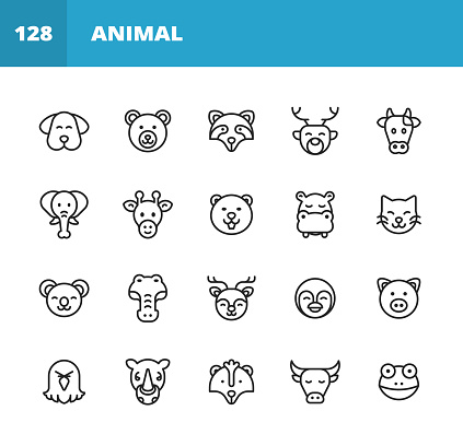 Animal Line Icons. Editable Stroke. Pixel Perfect. For Mobile and Web. Contains such icons as Dog, Bear, Elephant, Giraffe, Cow, Eagle, Penguin, Crocodile.