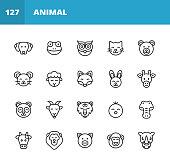 20 Animal Outline Icons. Animal, Pet, Dog, Frog, Mammal, Amphibian, Reptile, Brid, Owl, Cat, Bear, Mouse, Rat, Sheep, Fox, Bunny, Rabbit, Giraffe, Panda Bear, Goat, Tiger, Chick, Chicken, Crocodile, Wild Animal, Farm Animal, Cow, Lion, Pig, Monkey, Chimpanzee, Rhinoceros, Zoo.