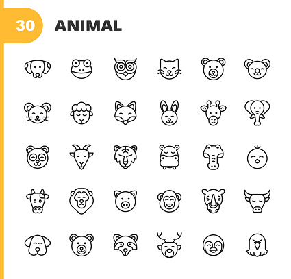 Animal Line Icons. Editable Stroke. Pixel Perfect. For Mobile and Web. Contains such icons as Dog, Frog, Owl, Cat, Bear, Mouse, Sheep, Fox, Rabbit,  Giraffe, Elephant, Panda, Goat, Lion, Tiger, Hippo, Chick, Cow, Pig, Monkey, Bull, Skunk, Deer, Penguin.