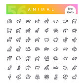 Set of 56 animals from africa, australia, forest, sea, mammals, birds, reptiles, fish, insects and other line icons suitable for web, infographics and apps. Isolated on white background. Clipping paths included.