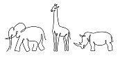 Elephant, giraffe and rhino are drawn in thin lines.