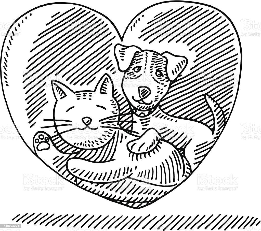 Animal Gato Perro Amor Corazón De Dibujo - Arte vectorial