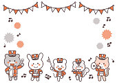Animal marching band Character Frame / Two Colors