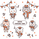 Animal marching band Character Set / Two Colors
