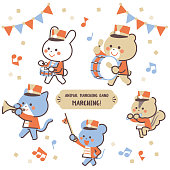 Animal marching band Marching Character Set / Four Colors
