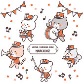 Animal marching band Marching Character Set / Two Colors