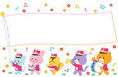 Animal marching band Marching Flag Character Frame