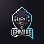 Animal athletic club vector logo concept isolated on dark background. Modern gaming team mascot badge design. E-sports team logo template with animal vector illustration