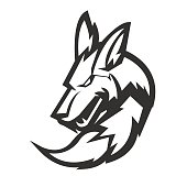Animal mascot logo silhouette version. Animal in sport style, mascot logo illustration design vector