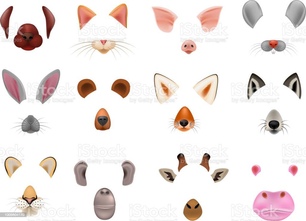 Dierlijke masker vector dierlijke maskeren gezicht van wild tekens dragen wolf konijn en de kat of hond op maskerade illustratie set van gemaskeerd carnaval kostuum aap verbergen geïsoleerd op witte achtergrond - Royalty-free Aap vectorkunst