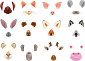 Animal mask vector animalistic masking face of wild characters bear wolf rabbit and cat or dog on masquerade illustration set of carnival masked costume monkey masquer isolated on white background.