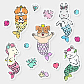 Set of kawaii stickers with animal mermaids. Hand drawn illustration. Vector 8 EPS.