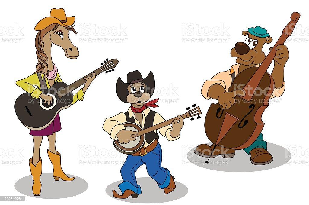 Animal music band. Vector cartoon isolated characters vector art illustration