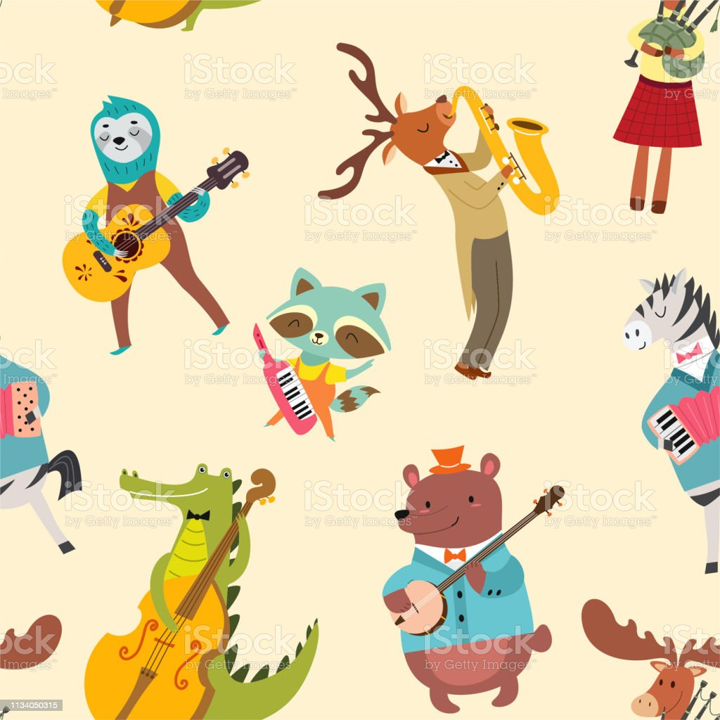 動物のミュージシャンのパターン漫画のスタイルでかわいい動物のバンドとベクトルシームレスな質感 アニマルプリントのベクターアート素材や画像を多数ご用意 Istock
