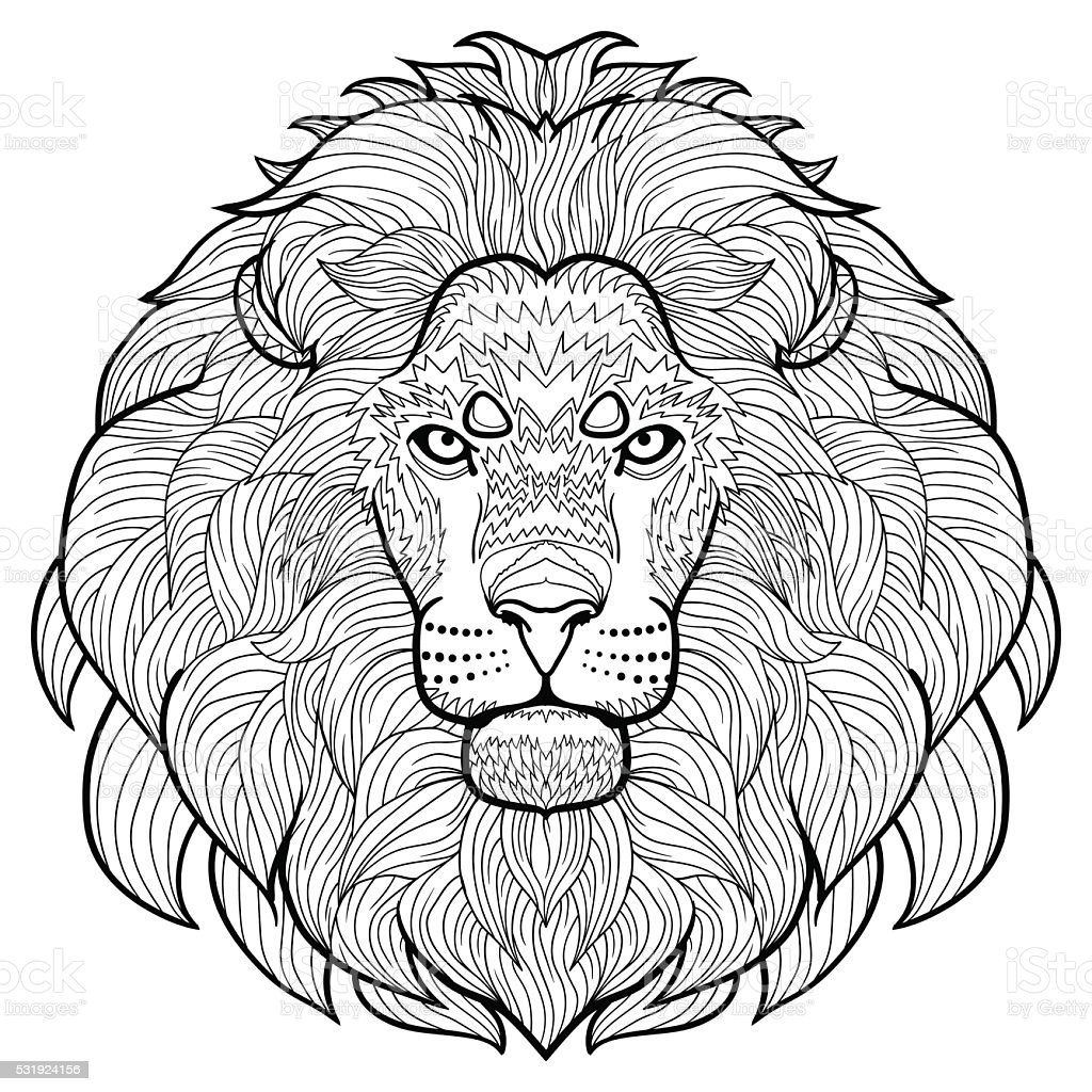 Animal Outline Antistress Coloring The Head Of Lion stock ...