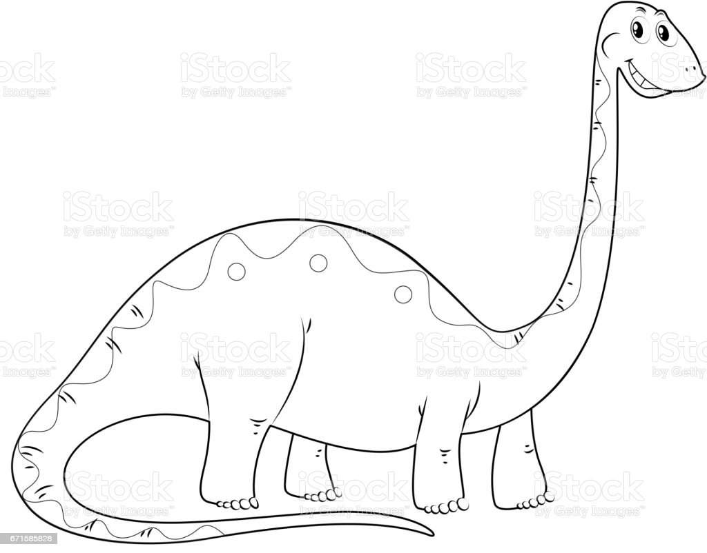 animal outline for dinosaur long neck royalty free stock vector art