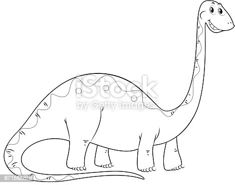 animal outline for dinosaur long neck stock vector art 671585828 istock