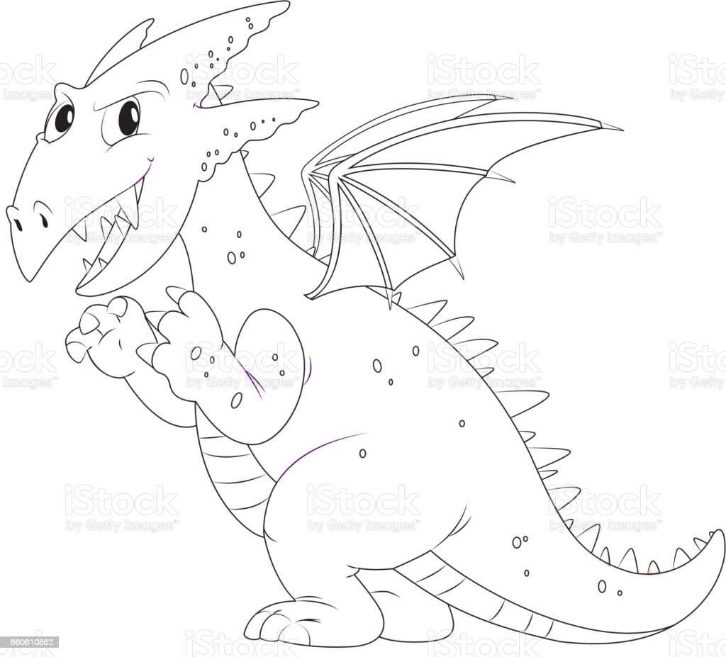 Animal outline for dragon with wings royalty-free animal outline for dragon with wings stock vector art & more images of animal