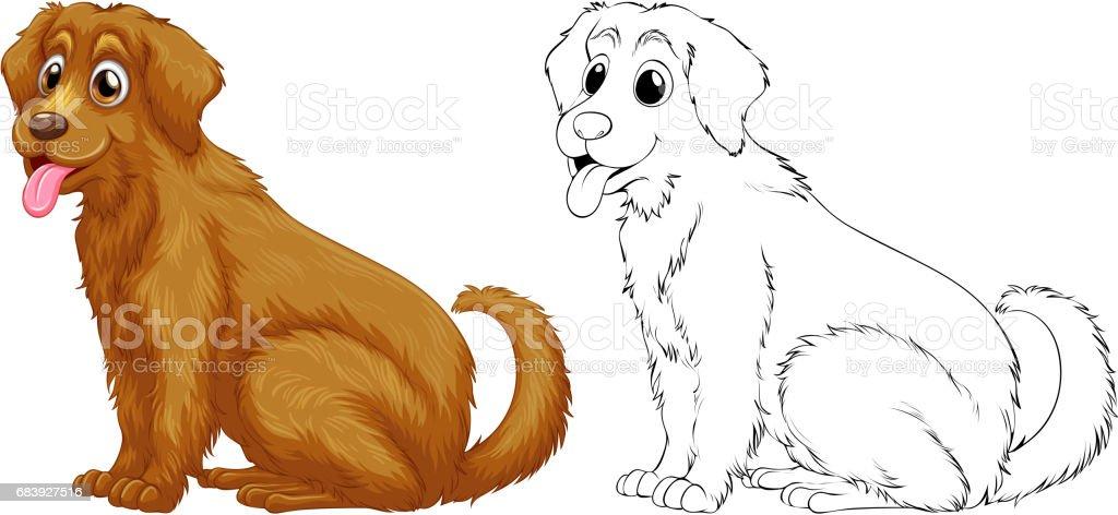 Ilustración De Animal Esquema Para Perro Golden Retriever Y Más