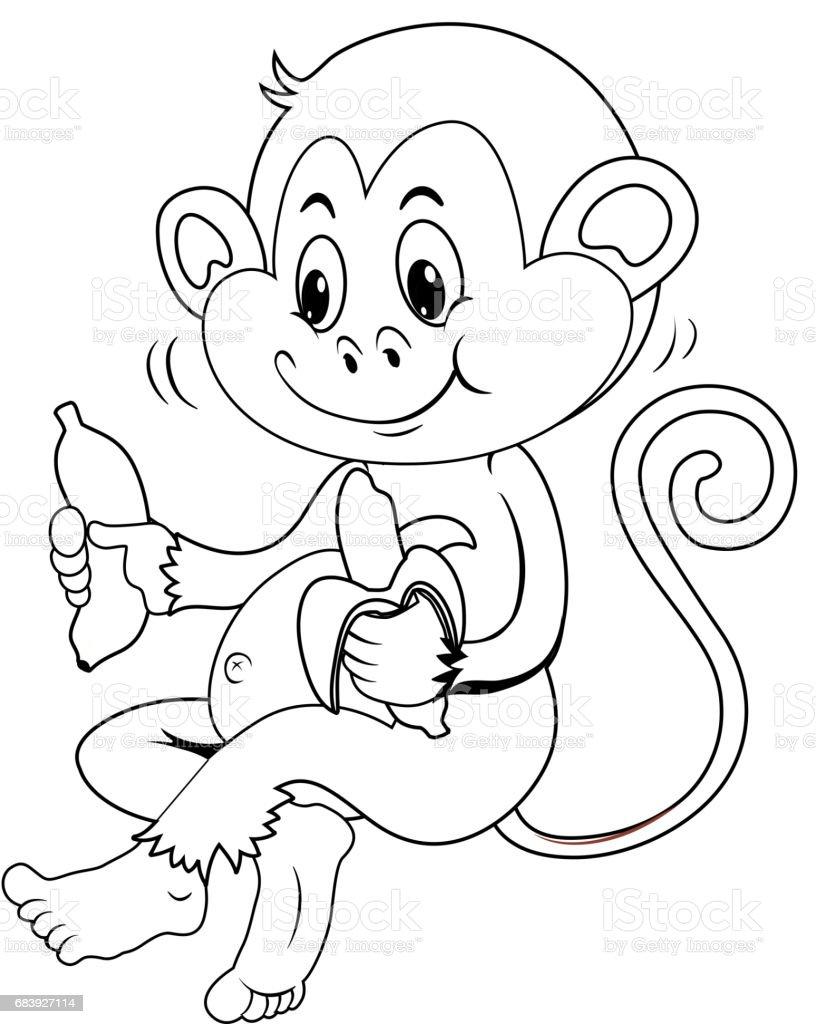 Tierische Gliederung Für Affe Banane Essen Stock Vektor Art und