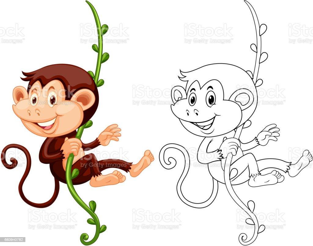 animal outline for monkey hanging on vine stock vector art