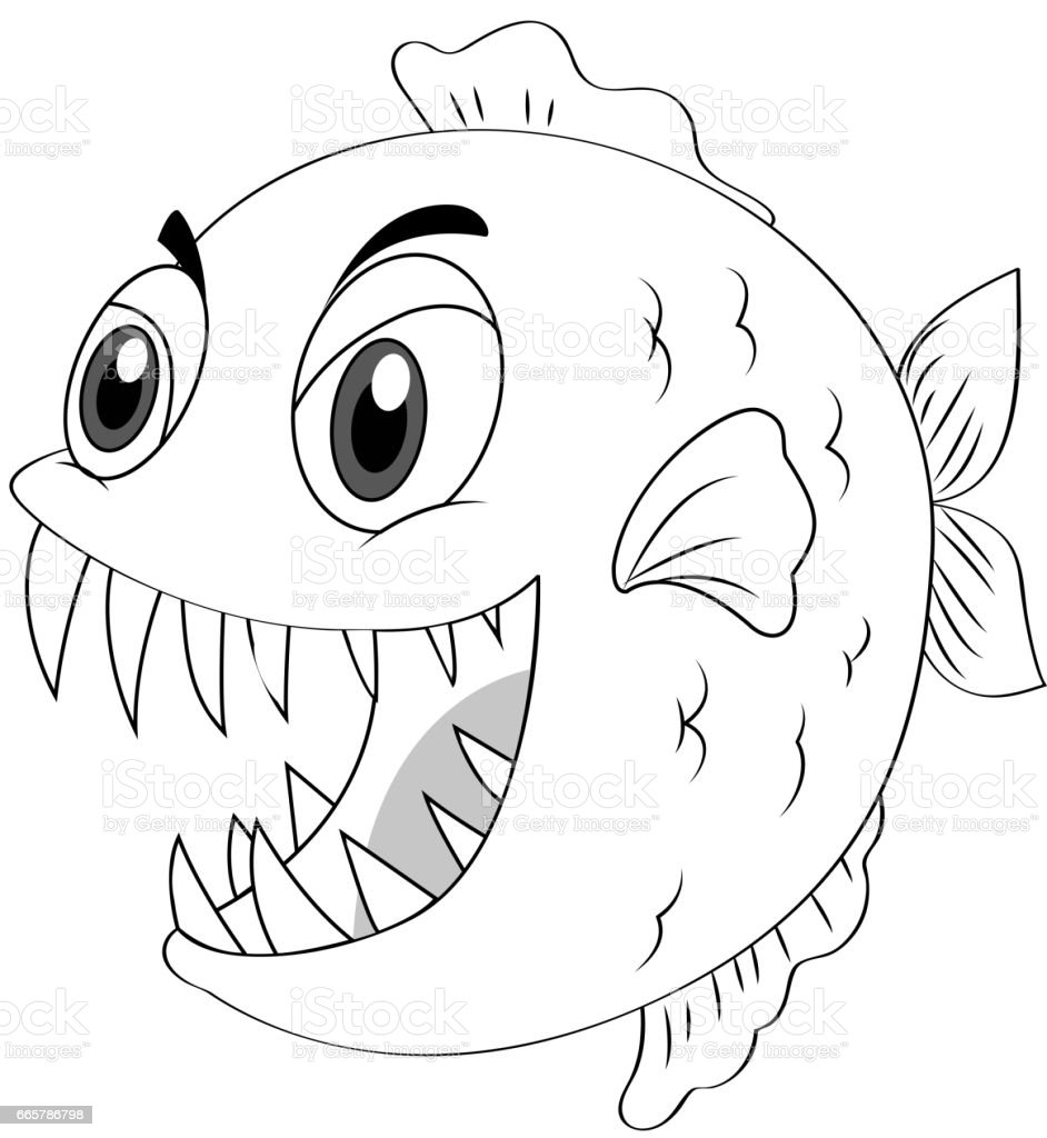 Animal Outline For Piranha Fish Arte Vetorial De Stock E Mais