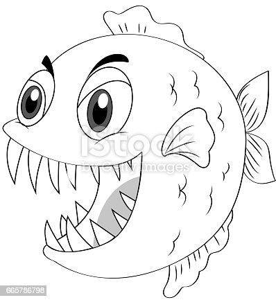 Ilustración de Animal Esquema De Peces Piraña y más banco de ...