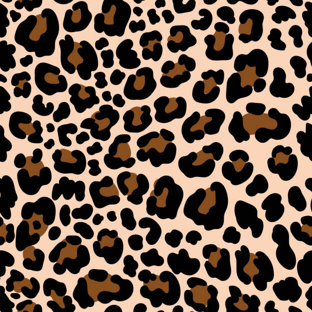 Animal pattern leopard seamless background with spots vector art illustration