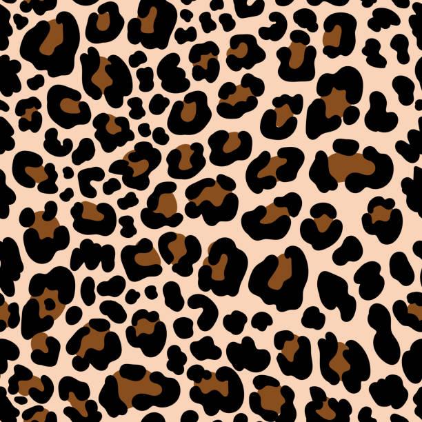 stockillustraties, clipart, cartoons en iconen met animal patroon leopard naadloze achtergrond met vlekken - jachtluipaard