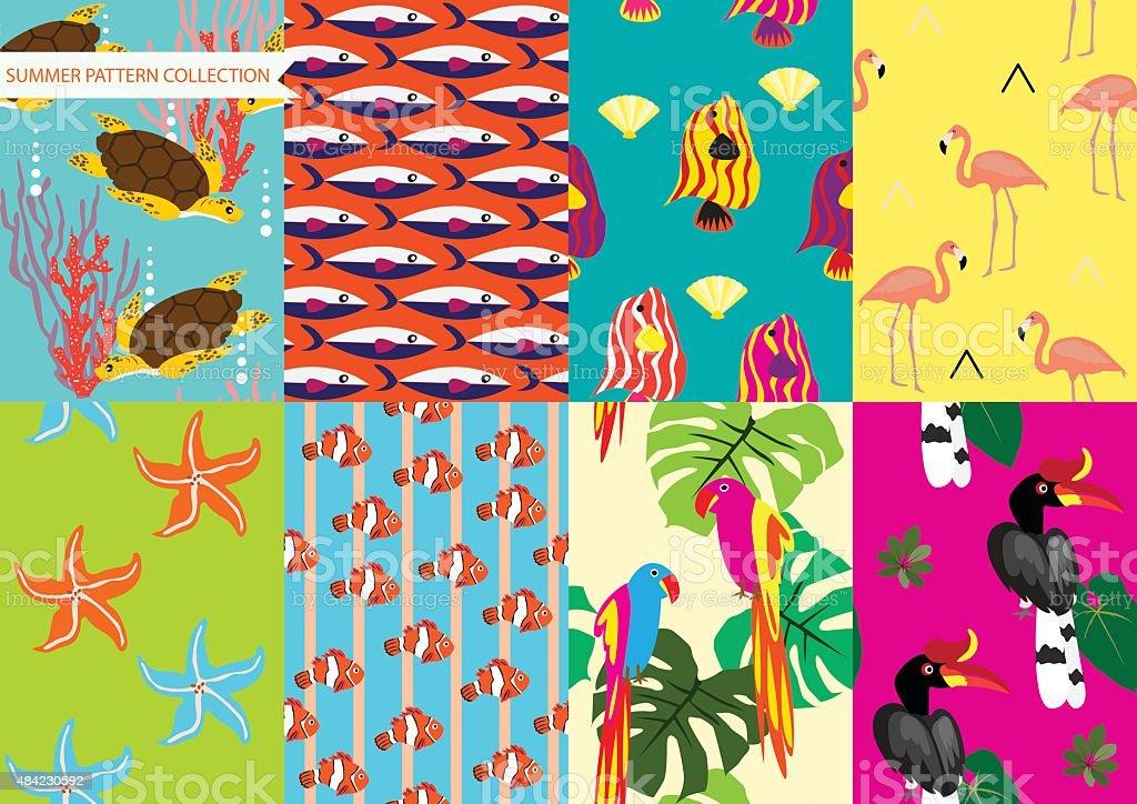 Animal pattern set vector art illustration