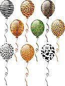 EPS 10 Vector illustration of animal patterns balloons. Used blending modes.