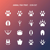 Animal Paw Print Icon Set Coral and Midnight Blue Gradient Background