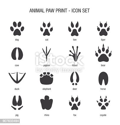 Vector of Animal Paw Print Icon Set