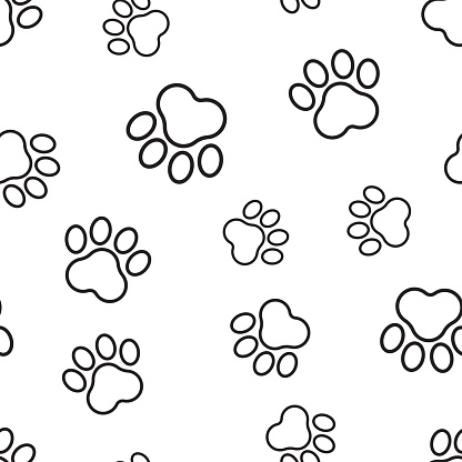 7bf31091878d Animal Paw Print Seamless Pattern Background Business Flat Vector  Illustration Dog Or Cat Pawprint Sign Symbol Pattern Stock Vector Art &  More Images of ...