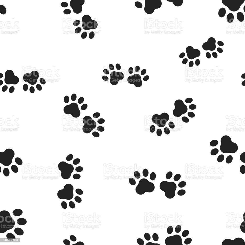96800ea17b9e Animal paw print seamless pattern background. Business flat vector  illustration. Dog or cat pawprint