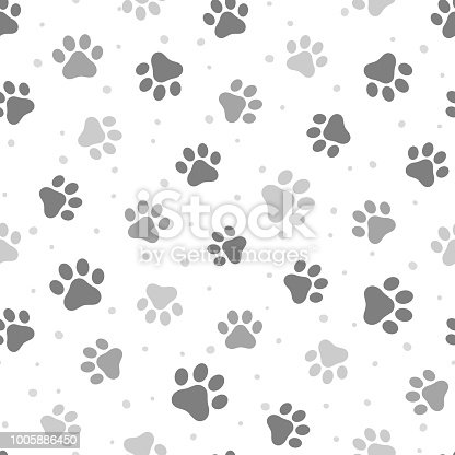 Animal Cute Paw Seamless Pattern Background, Vector Illustration